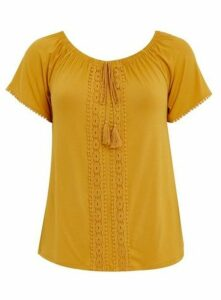 Yellow Crochet Detail Top, Yellow