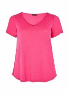 Pink V-Neck Short Sleeve T-Shirt, Pink