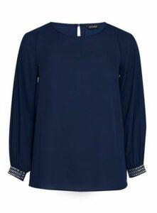 Navy Blue Sparkle Cuff Top, Navy