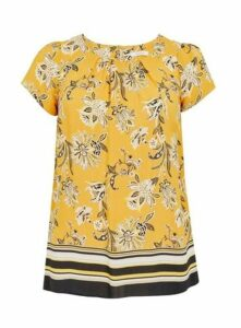 Yellow Floral Print Top, Yellow
