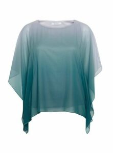 Teal Blue Ombre Cape Top, Teal