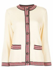 Yves Saint Laurent Pre-Owned collarless button-down cardigan - White