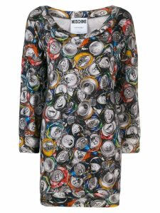 Moschino Pre-Owned 1990's can print mini dress - Grey