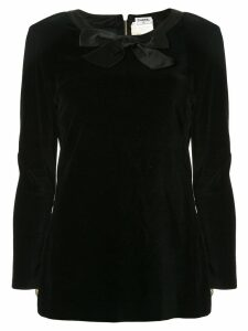 Chanel Pre-Owned velvet effect longsleeved blouse - Black