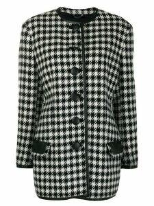 Versace Pre-Owned 1980's houndstooth collarless coat - Black