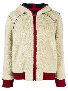 Chanel Pre-Owned 2008's shearling effect hooded jacket - White