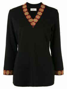 Yves Saint Laurent Pre-Owned patterned trim knit top - Black