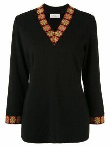 Yves Saint Laurent Pre-Owned patterned trim knit top - Black