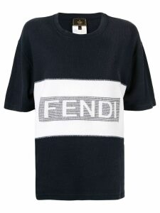 Fendi Pre-Owned logo embroidery T-shirt - Blue