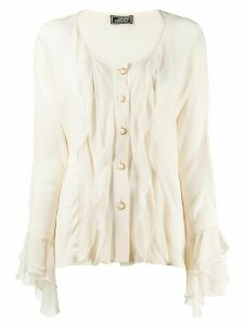 Versace Pre-Owned 1980's pleated ruffled blouse - Neutrals