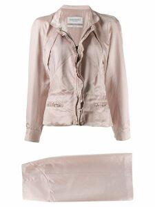 Yves Saint Laurent Pre-Owned 1990's slim jacket & skirt set - PINK