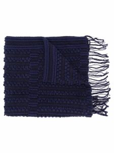 Giorgio Armani Pre-Owned 1990's knitted fringed scarf - Blue