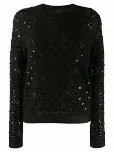 Louis Vuitton Pre-Owned open knit sequinned details jumper - Black