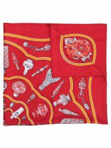 Hermès Pre-Owned 1990's vases print scarf - Red