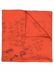 Hermès Pre-Owned 2000's equestrians print scarf - ORANGE