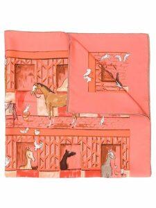 Hermès Pre-Owned 2000's barn print scarf - Pink