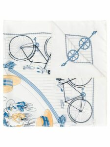 Hermès Pre-Owned 1990's bicycles print scarf - White