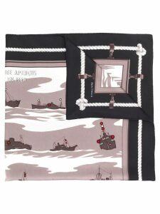 Hermès Pre-Owned 1990's ships print scarf - Black