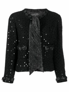 Chanel Pre-Owned 2000's sequin embroidery tie-neck jacket - Black