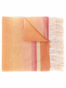Issey Miyake Pre-Owned 1990's fringed striped scarf - ORANGE