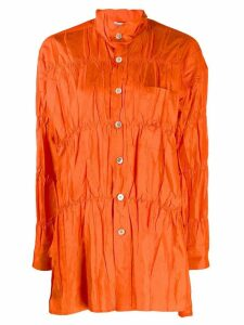 Issey Miyake Pre-Owned crushed effect shirt - ORANGE