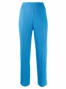Issey Miyake Pre-Owned pleated cropped trousers - Blue