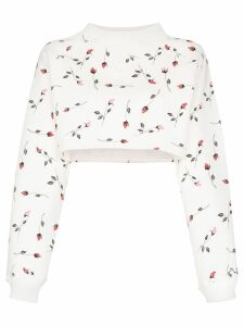 Adam Selman Sport rose-print cropped sweatshirt - White