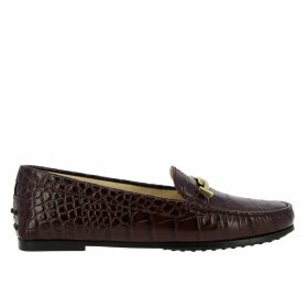 Tods Loafers City Double T Loafers In Crocodile Print Leather With Tods Gommini