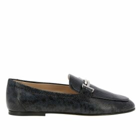 Tods Loafers Double T Tods Loafers In Python Print Leather
