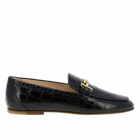 Tods Loafers Double T Tods Loafers In Crocodile Print Leather