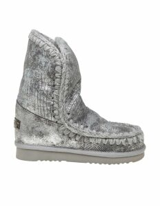 Mou Eskimo 24 Sneakers In Silver Laminated Leather