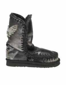 Mou Eskimo 24 Sneakers In Black Laminated Leather With Crystal Details