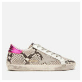 Golden Goose Deluxe Brand Women's Superstar Leather Trainers - Natural Snake Print/Ice Star