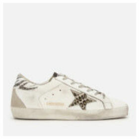 Golden Goose Deluxe Brand Women's Superstar Leather Trainers - White Glitter/Animalier Star