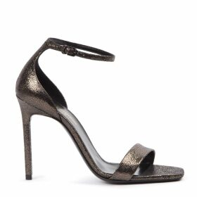 Saint Laurent Metallic Black Leather Amber Sandals