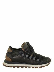 Brunello Cucinelli Stardust Leather And Shiny Net Sneakers With Precious Tongue
