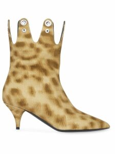 Burberry Eyelet Detail Leopard Print Ankle Boots - Neutrals