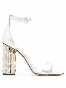 Salvatore Ferragamo ridged heel sandals - Silver