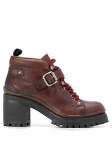 Miu Miu chunky lace-up boots - Brown