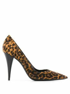 Saint Laurent leopard print 100 pumps - Brown