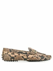 Tod's snakeskin effect loafers - Brown