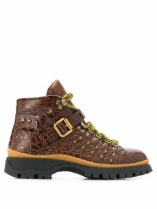 Prada crocodile-effect hiking boots - Brown