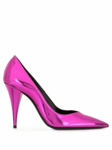 Saint Laurent mirror-look leather Kiki pumps - PURPLE