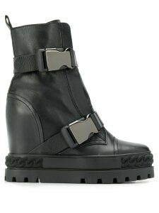 Casadei buckled wedge boots - Black
