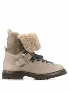 Brunello Cucinelli fur lined lace-up boot - Neutrals