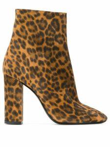 Saint Laurent Lou leopard print ankle boots - Brown