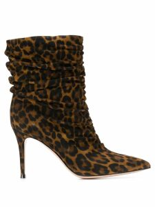 Gianvito Rossi leopard print heeled boots - Brown