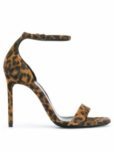 Saint Laurent Amber leopard print sandals - Brown