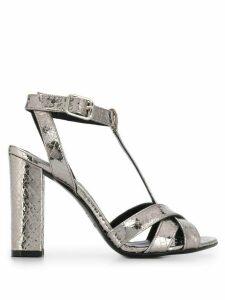 Twin-Set T-bar block heel sandals - Silver