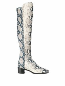 Stuart Weitzman long python print boots - Neutrals